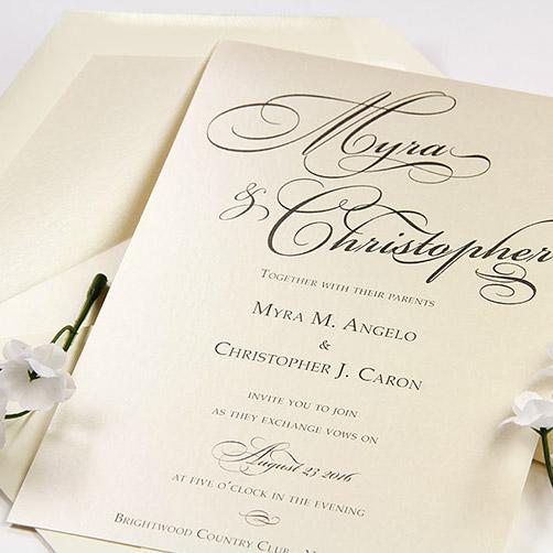 Simple metallic wedding invitation printed at home with laser printer
