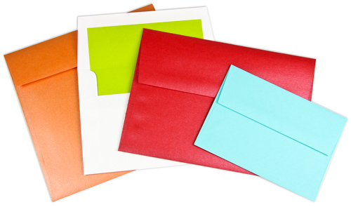 array of sizes and colors in square flap envelopes