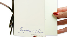 simple ribbon bound wedding program