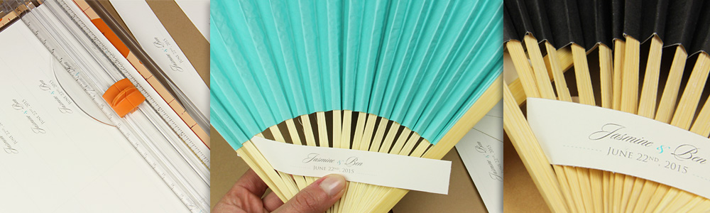 thread a personalized paper band through fan spokes
