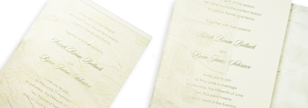 Tissue wrapped invitation ensembles with tissue opening in front and back