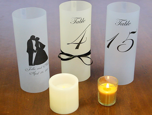 how to make wedding table luminaries with translucent vellum. Black Bedroom Furniture Sets. Home Design Ideas