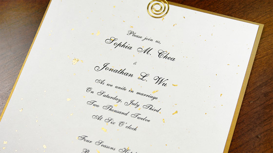 wedding invitation made with gold fleck Japanese paper