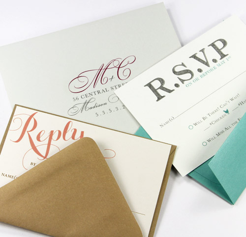 Colorful wedding response envelopes in A1 and A2 sizes