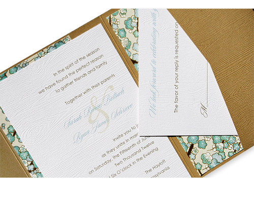 Woodgrain pocket fold wedding invitation