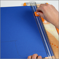 cut long portions of pocketfold with large paper trimmer