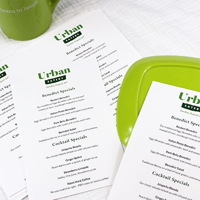 Easy print, perforated menu paper for event venues, hotels, restaurants, breweries. Easy & affordable enough to print menus daily