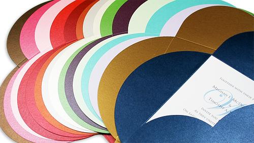 array of metallic finish petal fold pochettes.