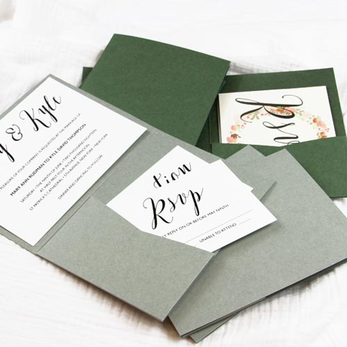 Sage green and dusty green pocketfold invitations