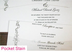 Pocket fold wedding invitation with v-shaped pocket stain on invitation and response cards