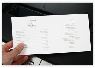 Printed Program Paper Wedding
