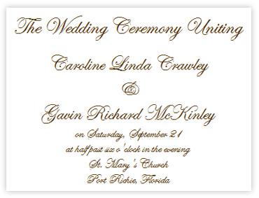 Wedding Program Wording Examples