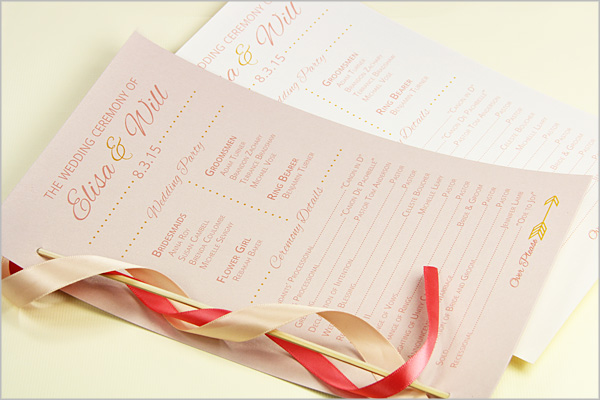 single page card stock programs with ribbon wand attached