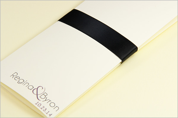 simple trifold program with a ribbon band