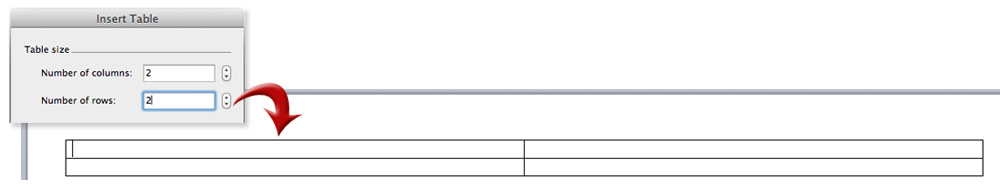 insert 2 x 2 table in word document